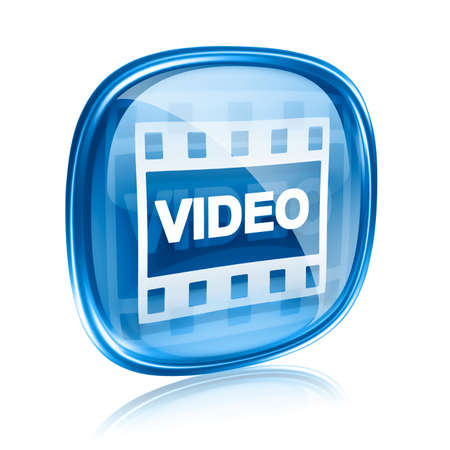 videos: Film icon blue glass, isolated on white background.
