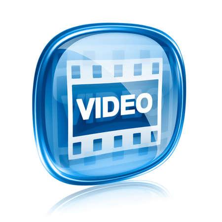 Film-Symbol aus blauem Glas, isoliert auf weißem Hintergrund.