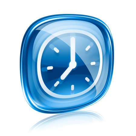 clock icon blue glass, isolated on white background Stock Photo - 11769017