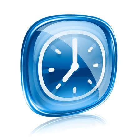 Uhr-Symbol blaues Glas, isoliert auf weißem Hintergrund