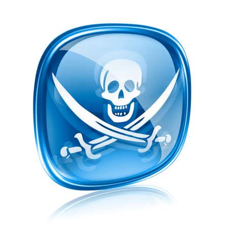 warez: Pirate icon blue glass, isolated on white background. Stock Photo