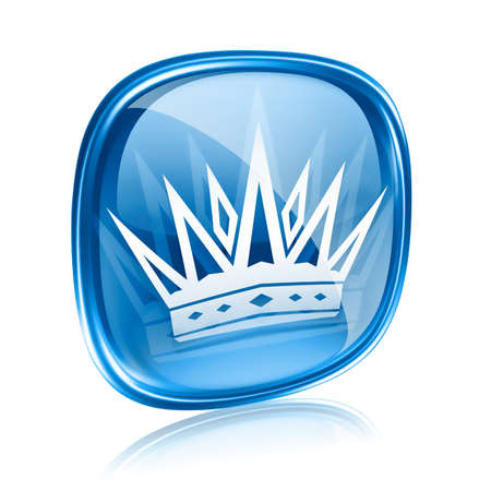 crown of light: crown icon blue glass, isolated on white background.