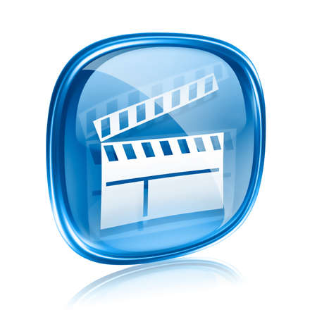 video production: movie clapperboard icon blue glass, isolated on white background.