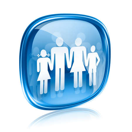 watercloset: family icon blue glass, isolated on white background. Stock Photo