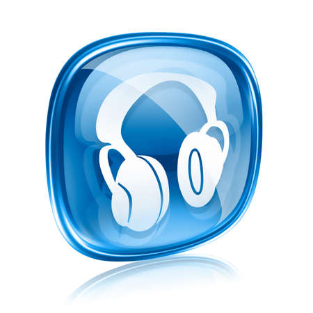 boom box: headphones icon blue glass, isolated on white background.