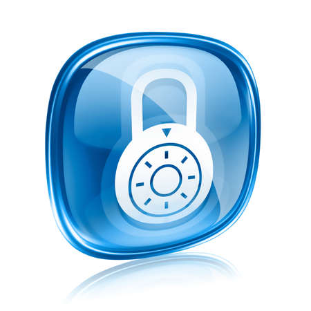 forbidden to pass: Lock off, icon blue glass, isolated on white background.