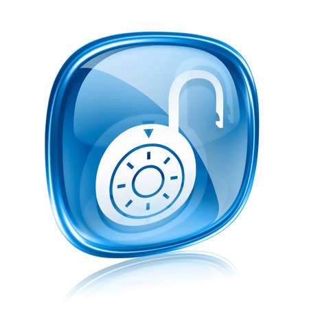 decrypt: Lock on, icon blue glass, isolated on white background.