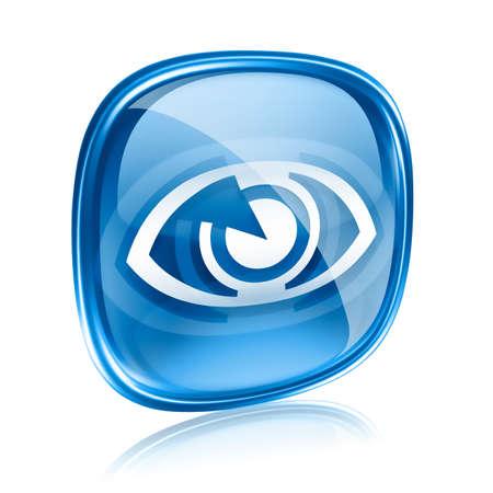 Augensymbol blauem Glas, isoliert auf weißem Hintergrund. Standard-Bild