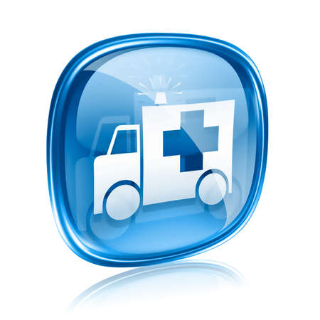 modern hospital: First aid icon blue glass, isolated on white background.
