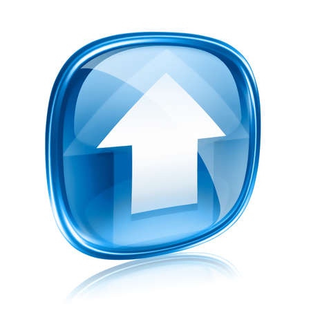 Laden Sie das Symbol aus blauem Glas, isoliert auf weißem Hintergrund. Standard-Bild
