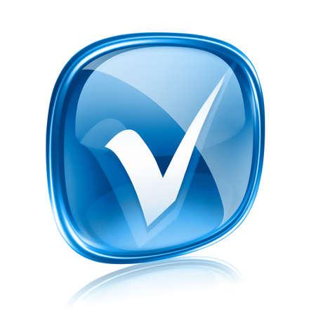 check icon: icono de verificaci�n de vidrio azul, sobre fondo blanco. Foto de archivo
