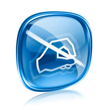 E-Mail-Symbol blaues Glas, isoliert auf weißem Hintergrund.