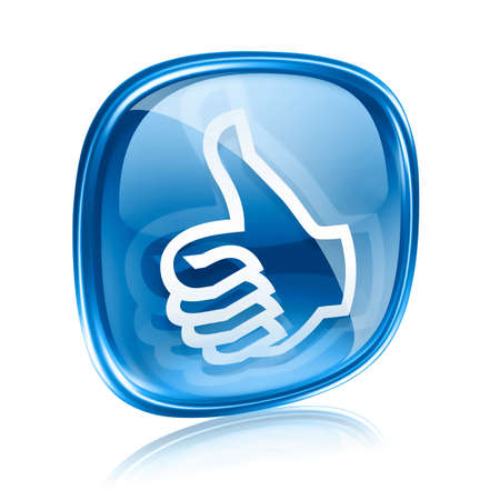 thumb up icon blue glass, approval Hand Gesture, isolated on white background. Stock Photo - 11769092