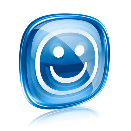 friendliness: Smiley blue glass, isolated on white background. Stock Photo