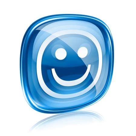 amabilidad: Smiley de cristal azul, sobre fondo blanco. Foto de archivo
