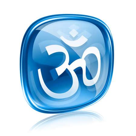 Om Symbol icon blue glass, isolated on white background. photo