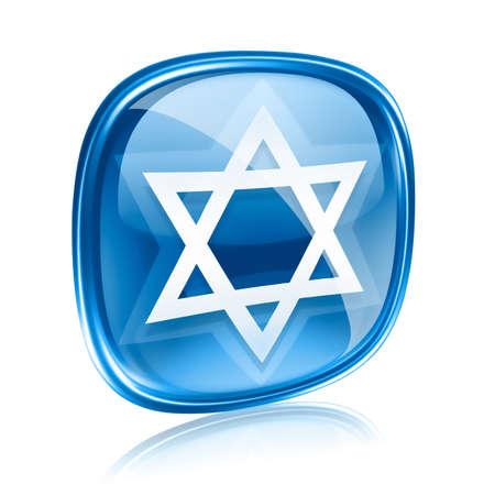 David gwiazda ikona niebieskie szkło, na białym tle. photo