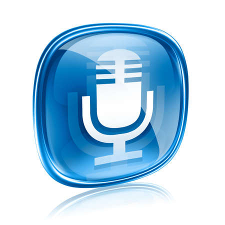 Microphone icon blue, isolated on white background photo