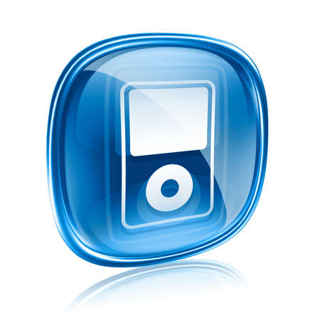 hf: mp3 player blue glass, isolated on white background Stock Photo