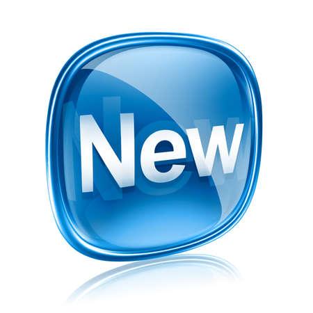 nowy: Nowa ikona niebieskie szkło, na białym tle