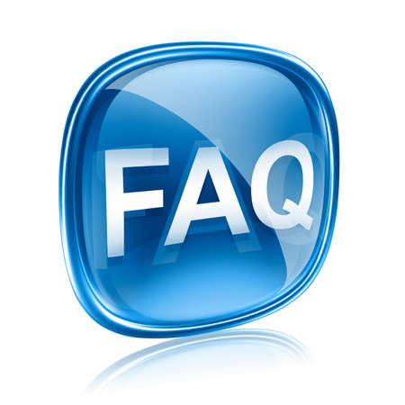 faq: FAQ icon blue glass, isolated on white background