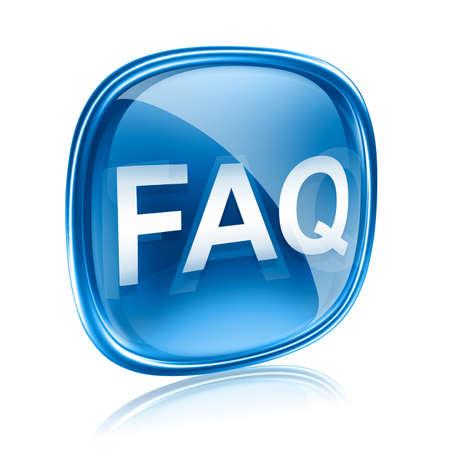 FAQ Ikone blaues Glas, isoliert auf weißem Hintergrund Standard-Bild