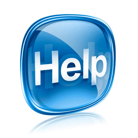 computer help: Help icon blue glass, isolated on white background
