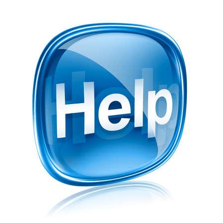segítség: Súgó ikon kék üveg, elszigetelt fehér háttér