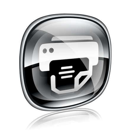 laser printer: printer icon black glass, isolated on white background.