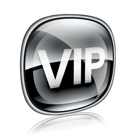 first class: VIP icon black glass, isolated on white background.