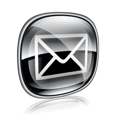 mailing: envelope icon black glass, isolated on white background