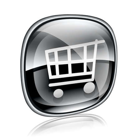 shopping cart icon black glass, isolated on white background. Stock Photo - 13318165