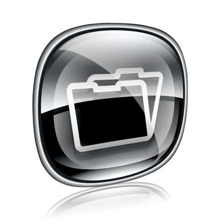 Folder icon black glass, isolated on white background photo
