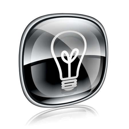 Light bulb Icon black glass, isolated on white background photo