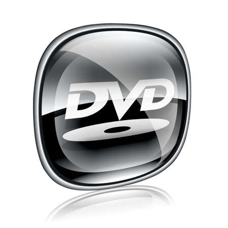 DVD icon button black glass, isolated on white background. photo