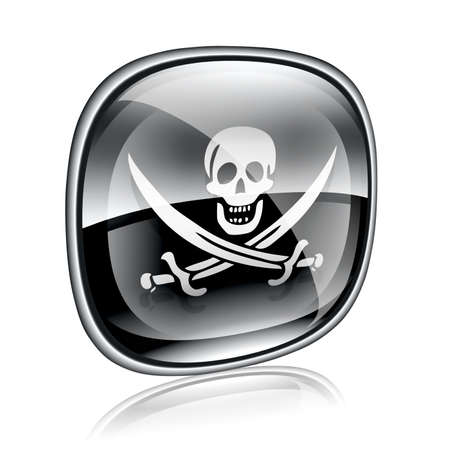 Pirate icon black glass, isolated on white background. Stock Photo