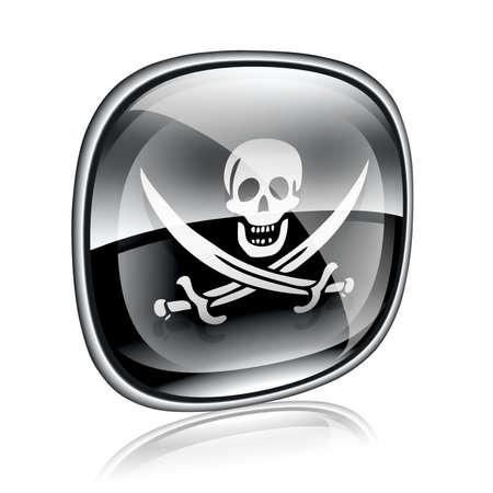 warez: Pirate icon black glass, isolated on white background. Stock Photo
