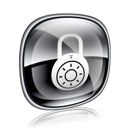 forbidden to pass: Lock off, icon black glass, isolated on white background.