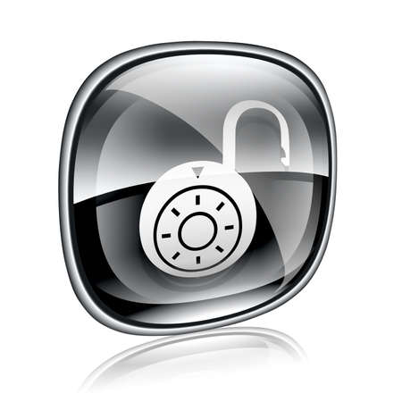 secure site: Lock on, icon black glass, isolated on white background.