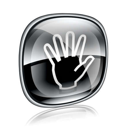 hand icon black glass, isolated on white background. photo