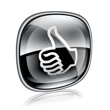 approve icon: thumb up icon black glass,  isolated on white background.