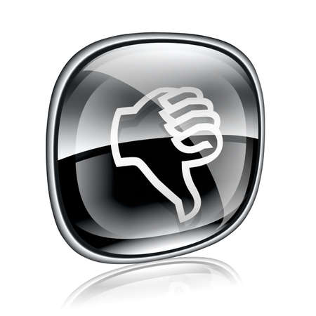 ineffective: thumb down icon black glass, isolated on white background.
