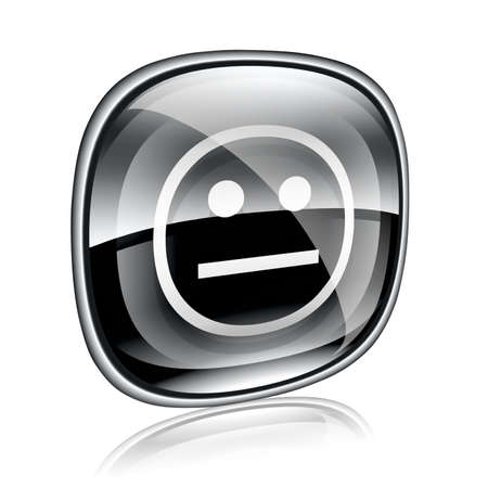 friendliness: Smiley black glass, isolated on white background.