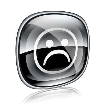 friendliness: Smiley dissatisfied black glass, isolated on white background. Stock Photo
