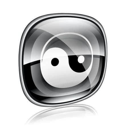 zen aum: yin yang symbol icon black glass, isolated on white background.