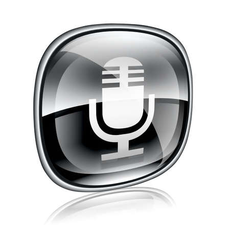 Microphone icon black glass, isolated on white background photo