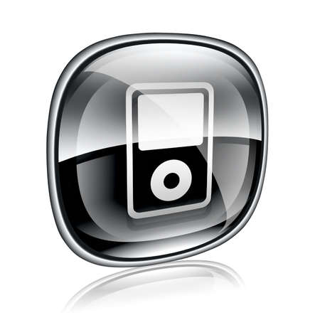 hf: mp3 player black glass, isolated on white background