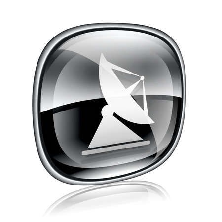 communications equipment: Antenna icon black glass, isolated on white background Stock Photo