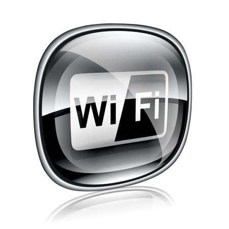 wep: WI-FI icon black glass, isolated on white background