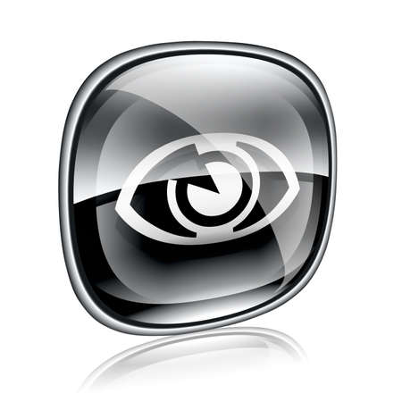 clearer: eye icon black glass, isolated on white background. Stock Photo